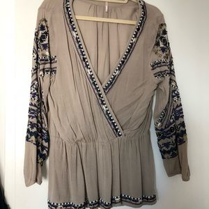 Free people embroidered grey tunic w/ gold beading